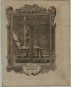 BUCHDRUCK-Druckerei-seltener-Original-Kupferstich-um-1750-BUCH-Buecher-drucken