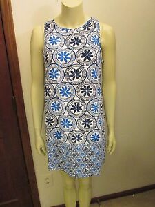 Blue-Medallion-Print-Shift-Dress-by-Mud-Pie-Size-Large-12-14-NWT