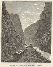 A5979 Colorado - Treno - Ferrovia - Xilografia - Stampa Antica 1895 - Engraving