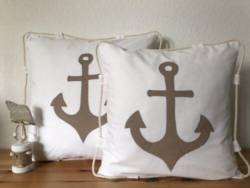 Maritime Kissenhülle *Kissenbezug* weiß//beige Anker /& Kordel 50x50cm.
