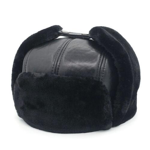 100/% Sheepskin Leather Men Winter Warm Bomber Trapper Hat Russia Hunting Hat