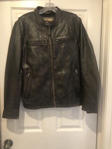 Wilsons Brown Leather Jacket Mens Small