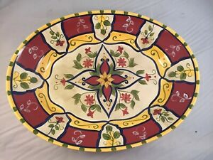PIER-1-Vallarta-16-x-12-1-2-034-oval-Serving-Patter-Red-Yellow-Green-Floral