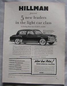 1955 Hillman Original advert No2 - Blackburn, Lancashire, United Kingdom - 1955 Hillman Original advert No2 - Blackburn, Lancashire, United Kingdom