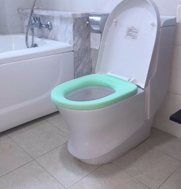 Great Bathroom Toilet Seat Warmer Comfortable Cover Easy to Use Light Blue