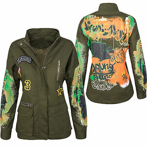 damen army style jacke bergangs jacke mit print. Black Bedroom Furniture Sets. Home Design Ideas