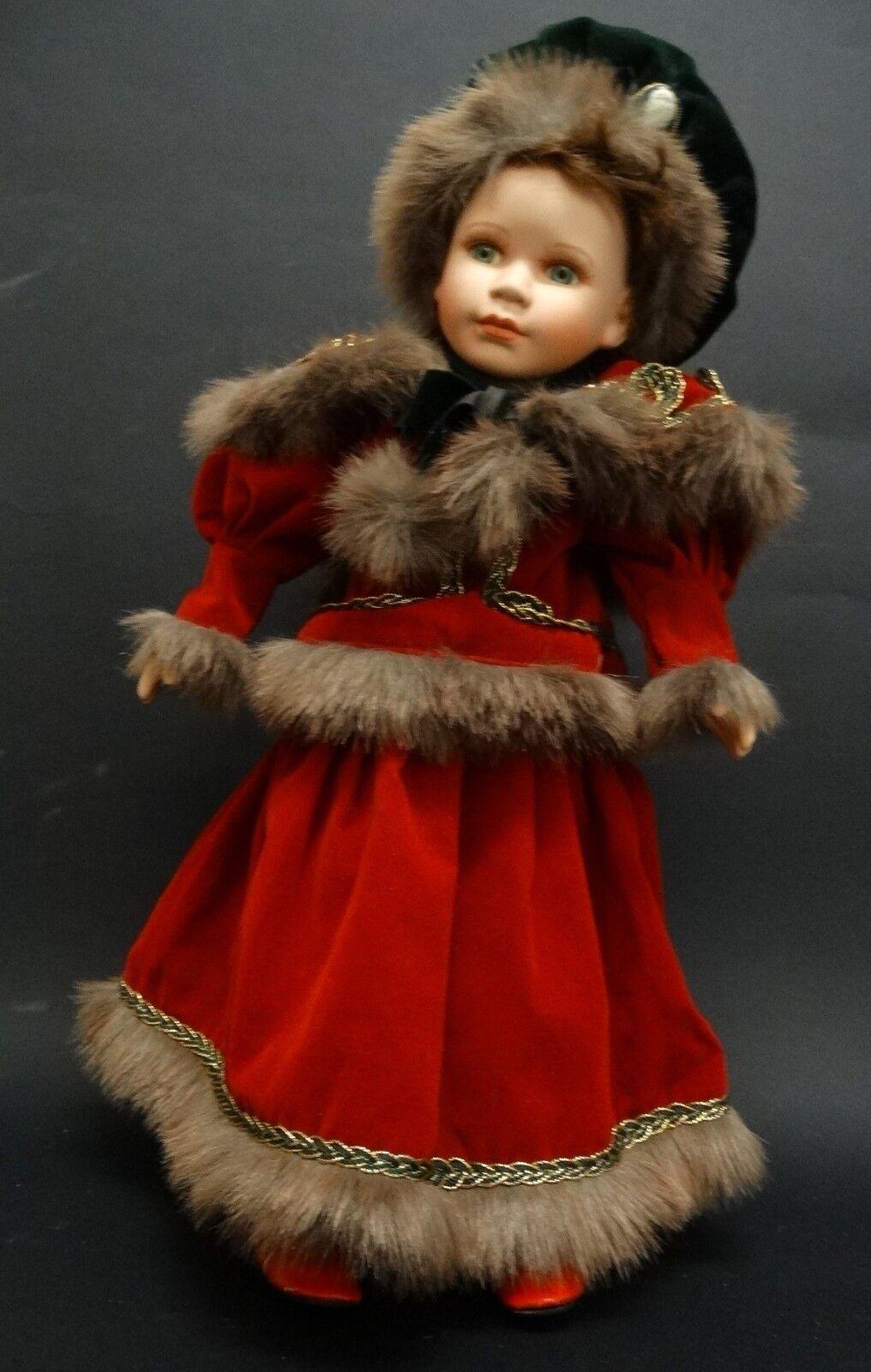 BAMBOLA ANTICA porcellana ABITO Russia EPOCA collezione H42cm vestito rojo