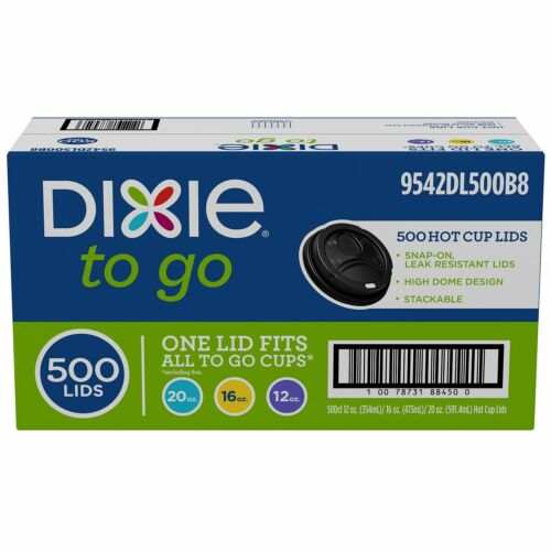 Dixie To Go Domed Hot Coffee Cup Lids One Size Fits All 12 or 20 oz 16 500 ct