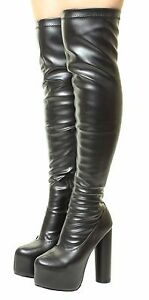 286446beb740 Sexy Over The Knee concealed Platform Thigh High Heel Stretch Wide ...