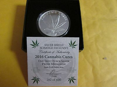 CANNABIS CURES 2016 1oz SILVER SHIELD PROOF LOW MINTAGE 600 W//BOX /& COA