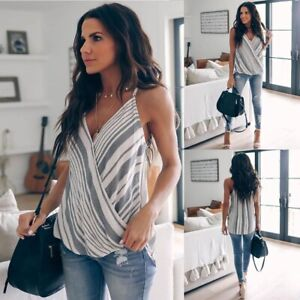 Women-Clothes-Vest-Top-Sleeveless-Casual-Loose-Striped-Tank-Tops-V-Neck-Camis