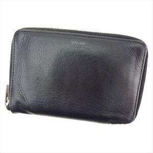 Celine-Wallet-Purse-Bifold-Black-leather-Woman-unisex-Authentic-Used-T8411