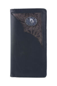 WEST WOLF BROWN VEGAN TOOLED LEATHER CAMO .38 BULLET EMBLEM MENS  BIFOLD WALLET