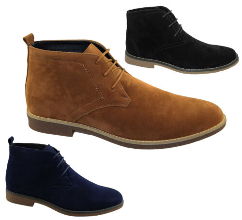 Mens Suede Desert Boots Winter Ankle High Top Classic Casual Lace Up Shoes Size