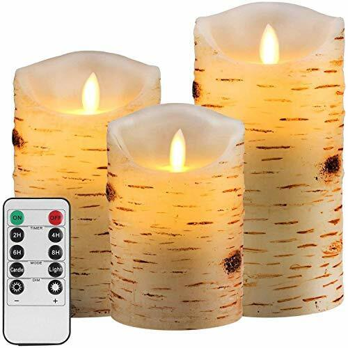 """/""""3 Pcs Flameless Birch LED Candles Real Wax Battery Remote Timer /"""""""