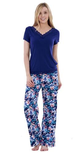 Ladies Stunning Blue Floral Womens Satin Pyjamas Short Sleeve Nightwear