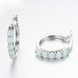 925-Sterling-Silver-Women-Ear-Stud-Huggie-Hoop-Earrings-White-Fire-opal-Paved