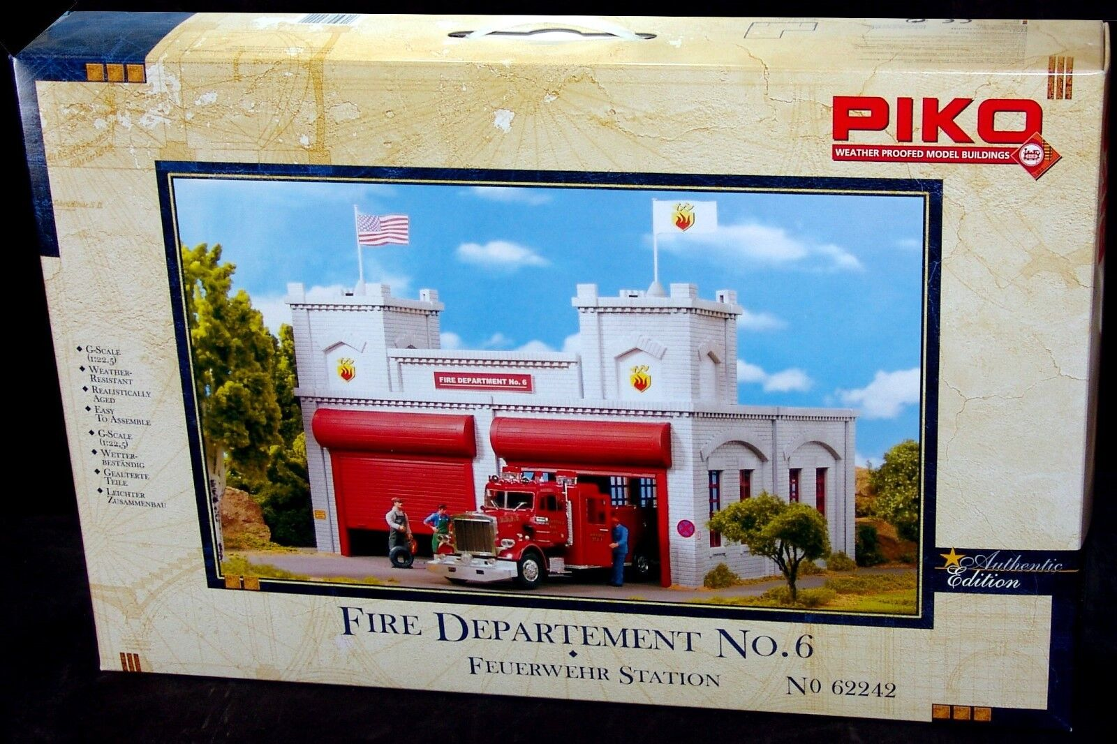 PIKO FIRE DEPTARTMENT STATION No.6   G Scale Scale Scale Building Kit   62242  New in Box f0bee4