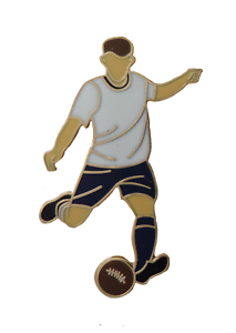White & Navy Blue Football Player Gold Plated Pin Badge