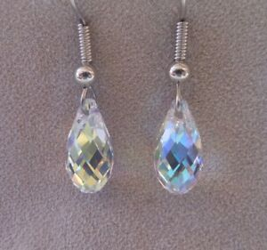 HYPOALLERGENIC-Surgical-Steel-Dangle-Earrings-Swarovski-Elements-Crystal-in-AB