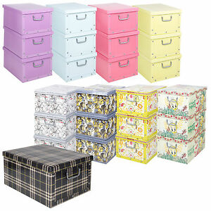 Set-Of-3-Underbed-Storage-Boxes-With-Lid-Handles-Clothes-Collapsible-Lightweight