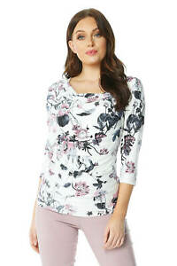 Roman-Originals-Womens-Floral-Cowl-Neck-3-4-Length-Sleeves-Floral-Top