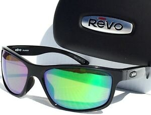 b135bf78326 NEW  REVO HARNESS Matte Black POLARIZED Shallow Green Water Sunglass ...