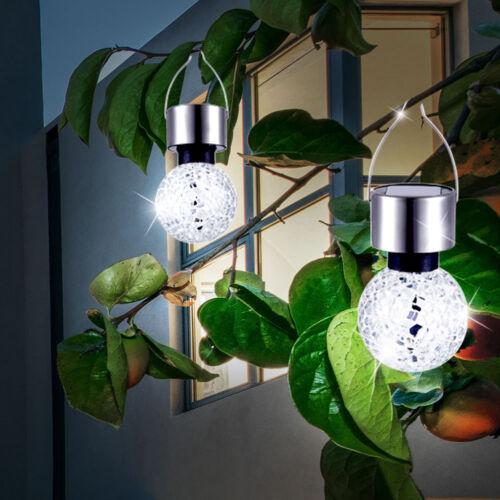 2er Set LED Solar Hängeleuchten Edelstahl Balkon Spiegel Mosaik Kugellampen Akku