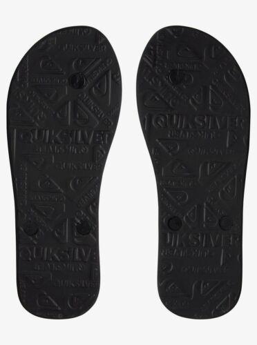 Men/'s Quiksilver MOLOKAI WORDMARK FINELINE Black//Yellow Flip Flops AQYL100810
