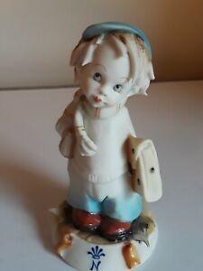 "VTG Porcelain Bisque Capodimonte G. PEZZATO Figurine ""BOY GOING TO SCHOOL"" MINT"