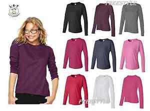 fcfb3420d LAT Ladies  Long Sleeve Crewneck T-Shirt Premium Jersey Tee 3588 S ...