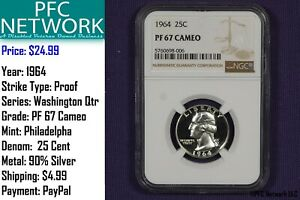1964-PR-PF-67-Cameo-Washington-Silver-Proof-Quarter