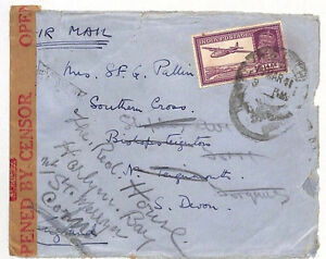 AJ277 1941 INDIA Airmail Censored Cover Redirected to GB {samwells-covers}