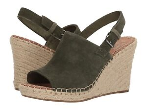 c37a3b206bd NEW WOMEN TOMS MONICA PINE SUEDE GREEN OLIVE LEATHER WEDGE SANDAL ...