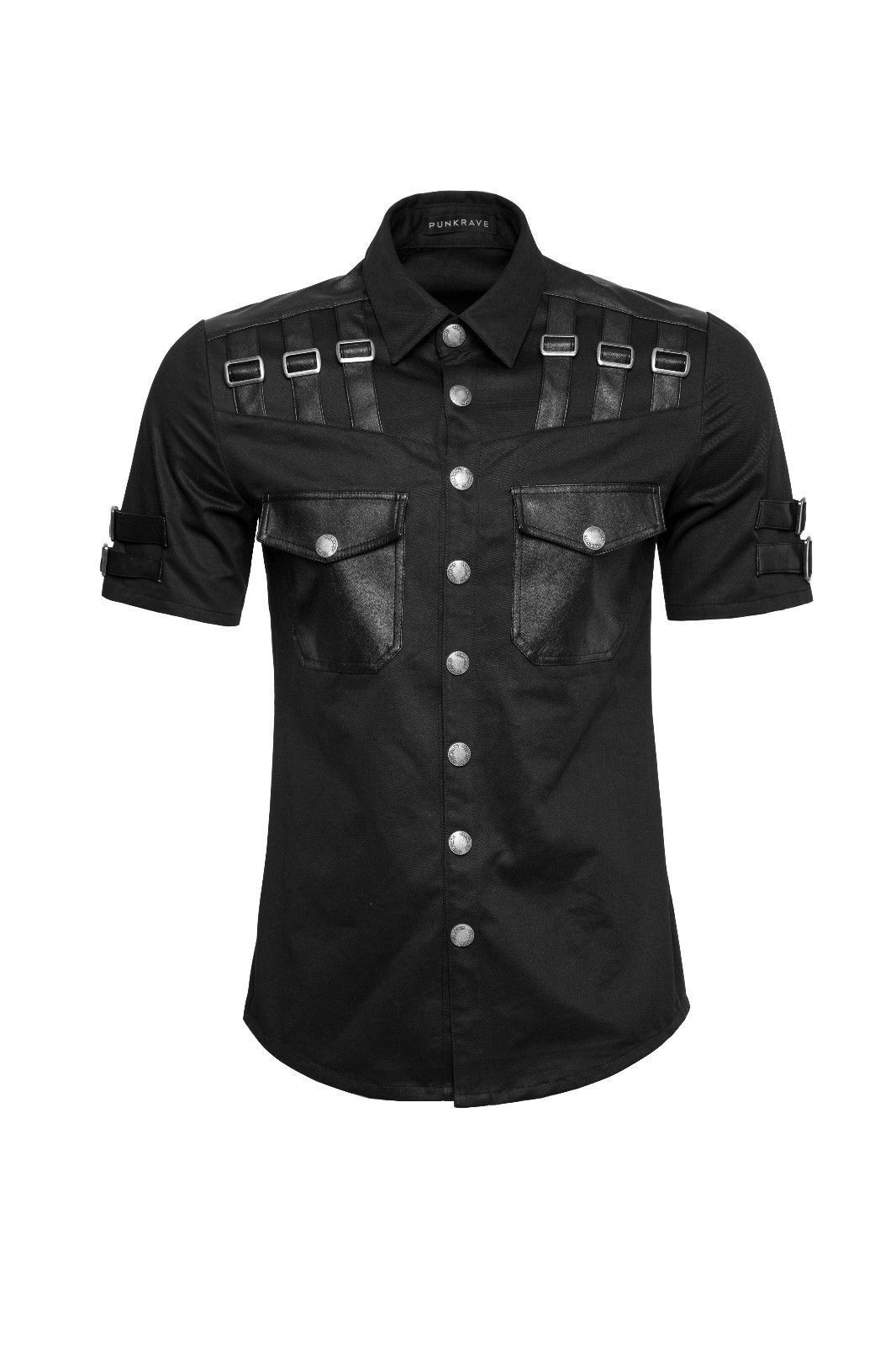 Mens Gothic Summer Shirt Military Style Short Punk Sleeve Shirt