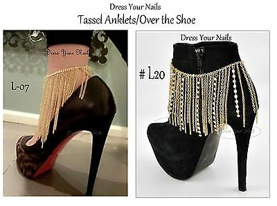 Shoe//Boot//Foot//Anklet Multi layered Chains draped Heel Costume Jewellery Tassle