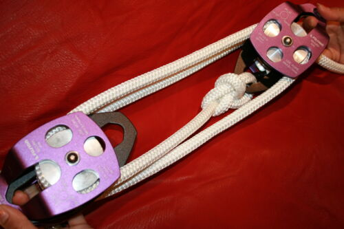 Twin sheave block and tackle 7500Lb pulley system 218 feet 1//2 Double Braid Rope