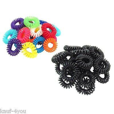Haargummi Haarband Telefonkabel Kunststoffspirale Haarschmuck schwarz bunt