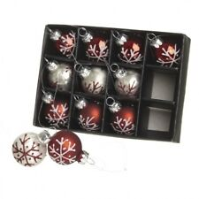 Heaven Sends Set of 12 Red & Silver Mini Christmas Tree Baubles - Tree baubles