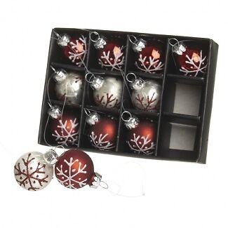 HEAVEN SENDS Lot de 12 Rouge /& Argent mini Christmas Tree Baubles-Tree Baubles