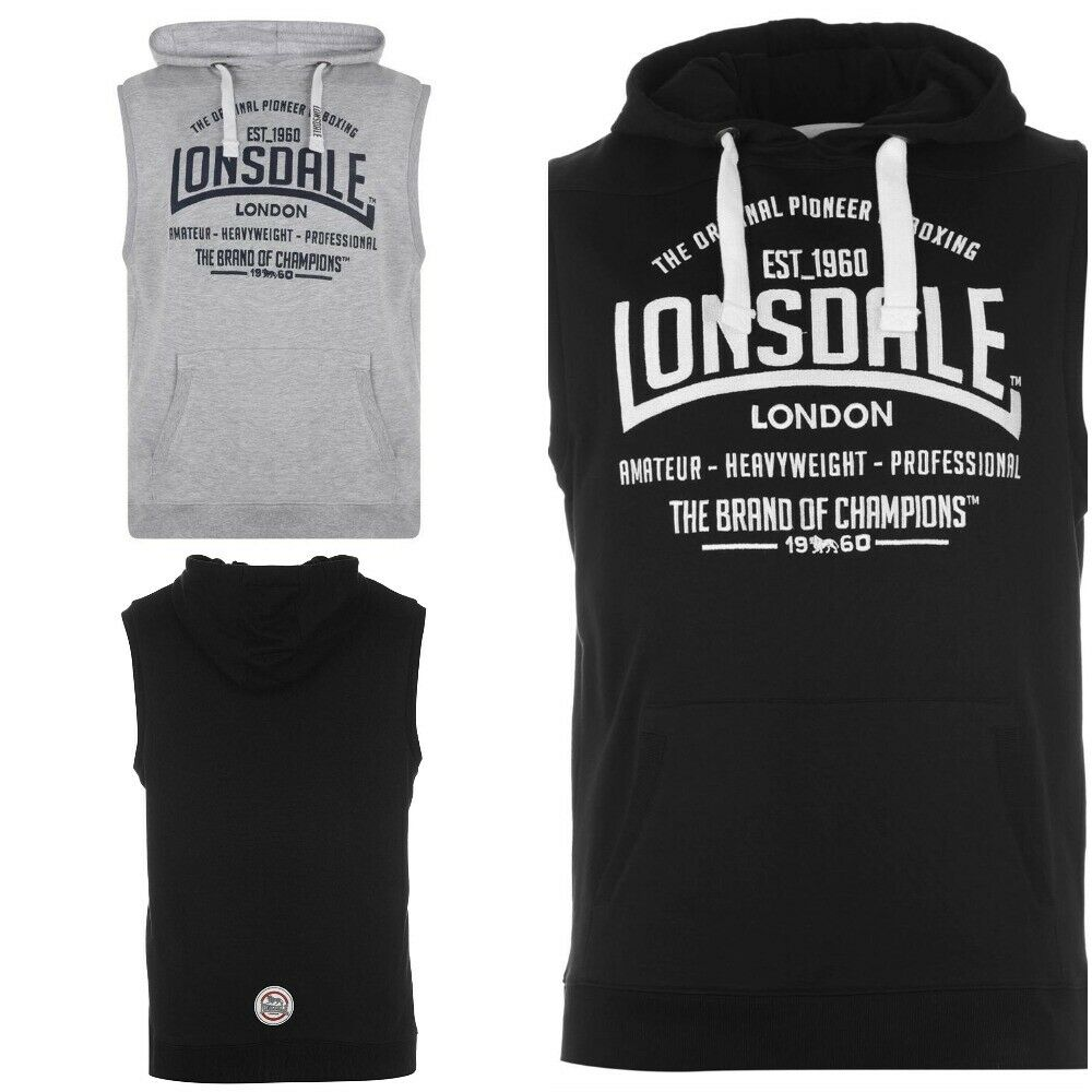 Men's Lonsdale Box Sleeveless Hoodie Boxing Gym Gilet Hooded Top RRP