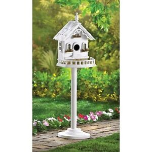 Distressed Shabby White Victorian Pole Stand Patio Bird