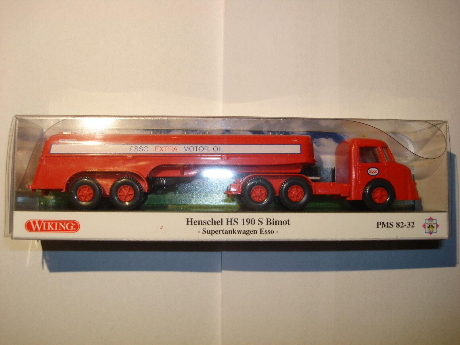 PMS 82-32 Wiking Henschel HS 190 S Bimot Supertankwagen Esso AG  H0 1 87 OVP  | Geeignet für Farbe