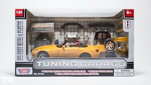 HONDA-S2000-Diecast-Model-TUNING-GARAGE-1-24-MOTOR-MAX-JDM-Yellow-Bodykit-Wheels