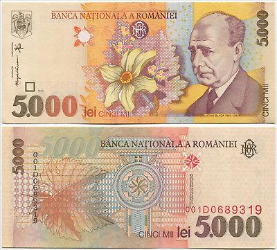Romania 5000 5,000 Lei P-107 1998 UNC