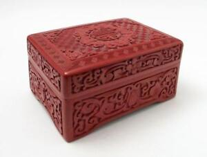 FINE-ANTIQUE-CHINESE-CARVED-RED-CINNABAR-LACQUER-ON-WOOD-BOX-FIVE-BATS-BLESSINGS