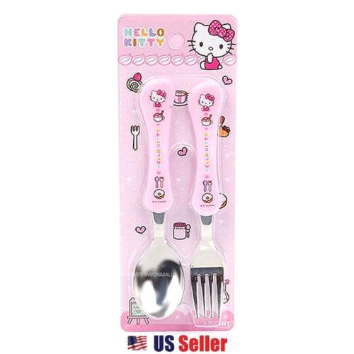 Sanrio Hello Kitty Stainless Steel Utensil Silverware Spoon and Fork Set