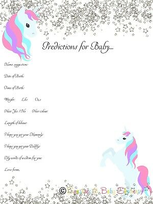 Predictions for Baby Baby Shower Game Cute UNICORN SILVER GLITTER 20 players