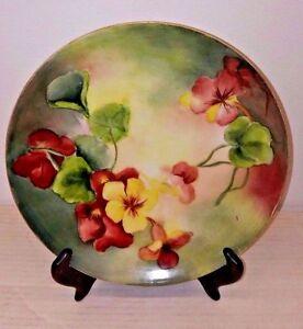 Pintado-a-Mano-Limoges-Placa-Pm-Des-M-Floral-1908-1914-Artista-Firmado-J-E