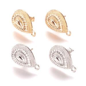 Blank Earring Findings Pair of Post Hoop Earring Findings with Loop Textured Cast Stud Earring Hoops